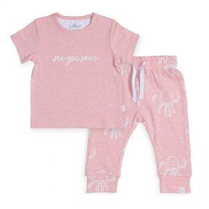jollein broekje t-shirt octopus roze