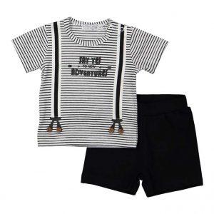 Dirkje baby set t-shirt met bretels en zwart broekje