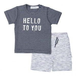 Dirkje baby set t-shirt en broekje grijs en zwart