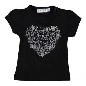 Dirkje baby T-shirt zwart + wit hartje