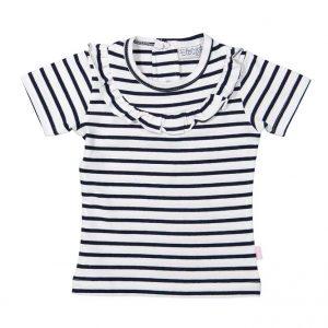 Dirkje baby T-shirt wit met zwarte strepen