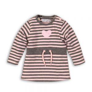 Dirkje jurkje roze+grijs gestreept